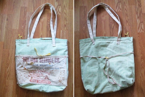 Waxed canvas Vintage Market tote Men Women