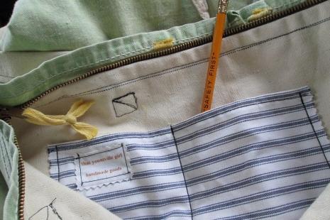 Handmade Tote US reclaimed Bag tent cotton Bag