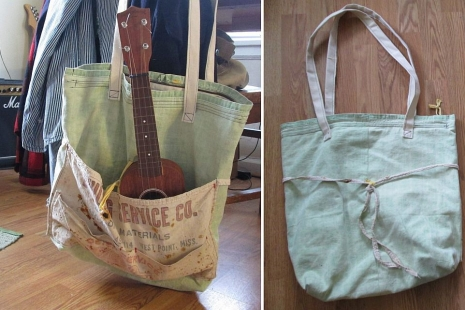 Handmade Tote US reclaimed Bag tent cotton Bag