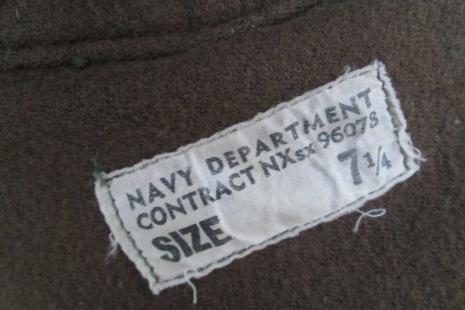 USN WWII Vintage Deck Hat Olive canvas and wool NXsx vintage