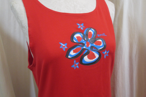 Target Stephen Sprouse 2002 graffiti Blue Flower Red stretch Dress