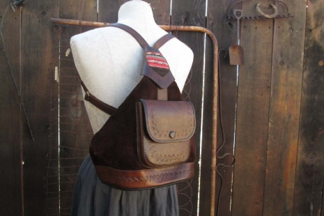 Brown suede backpack leather hand-tooled designs