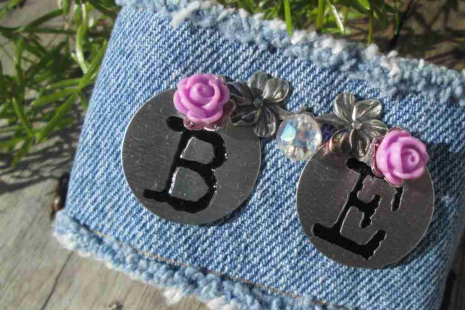 BE Denim Charm Bracelet glass crystal Purple roses Bohemian Country garden Cuff
