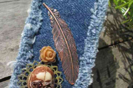 Copper Skull Leaf and Roses Denim Boho Cuff Bracelet