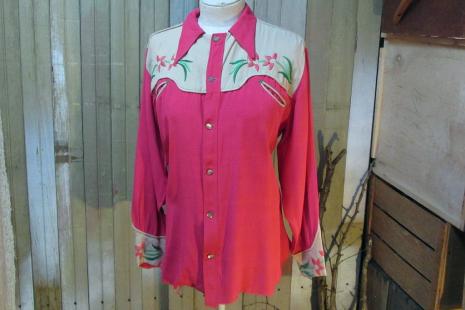 Vintage 30s Cowboy Shirt Western Embroidered rayon Smiley pockets