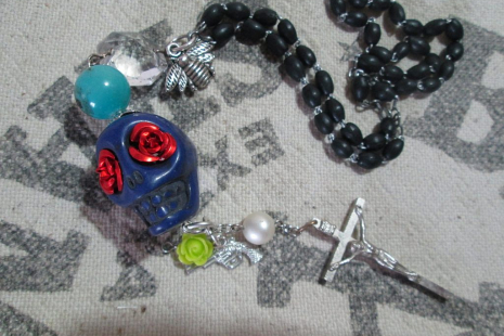 Salvage Rosary cross necklace Mexican Assemblage Skull jewelry
