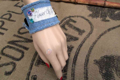 Flower Child Boho Denim Charm Bracelet turquoise roses Bohemian rustic Bee Cuff