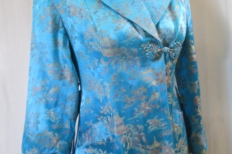 1940s Vintage wrap robe Turquoise Chinese brocade