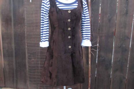 Vintage fur 60s MOD Brown crushed velvet vintage