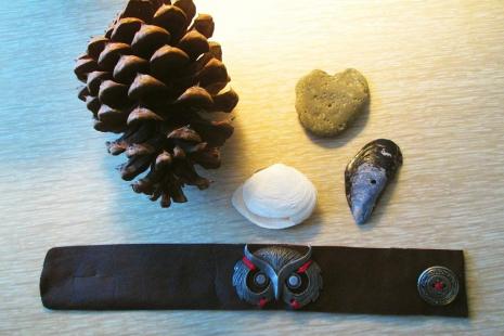 Forest Vintage Owl bracelet Brown Leather Cuff