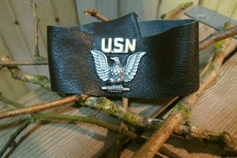 Military vintage Black Leather Cuff bracelet  handmade in USA jewelry