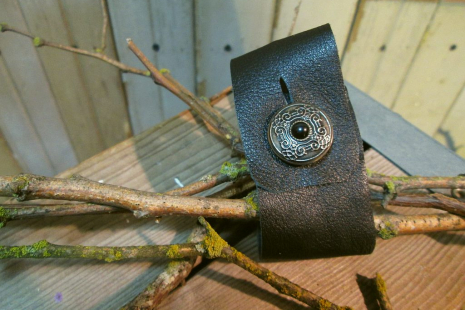 USN Eagle insignia vintage Black Leather Cuff bracelet