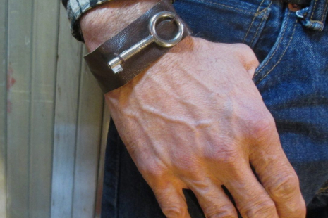 funkomavintage recycled leather cuff jewelry for men or women