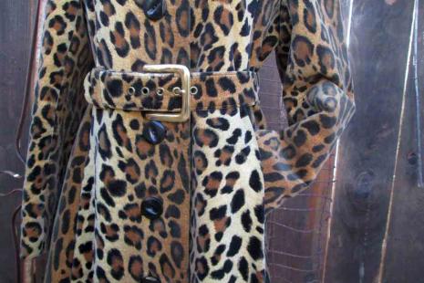 70s Vintage Leopard velvet Coat tailored boho Midi Fit and Flare Coat Saks