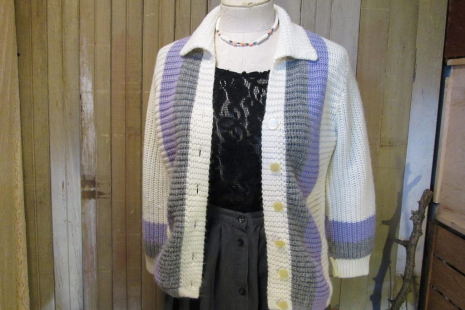 Vintage 50s Cardigan Sweater White Gray Lilac