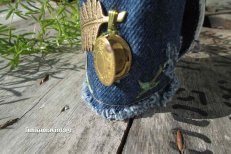 Romantic Fern and brass Locket Denim Charm Bracelet