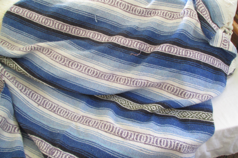 Hippie 70s Mexican serape in shades of blue