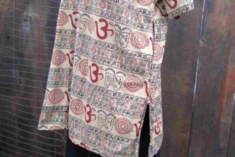 OM Kameez Made in India vintage tunic top Mandala sanskrit designs