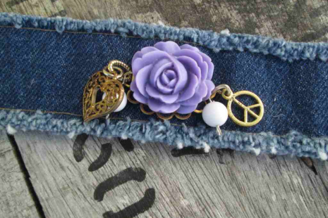 Peace Boho Denim Charm Bracelet Purple rose Bohemian