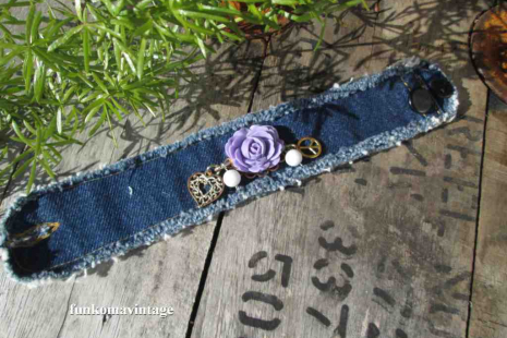 Purple rose Bohemian Country western rustic Cuff