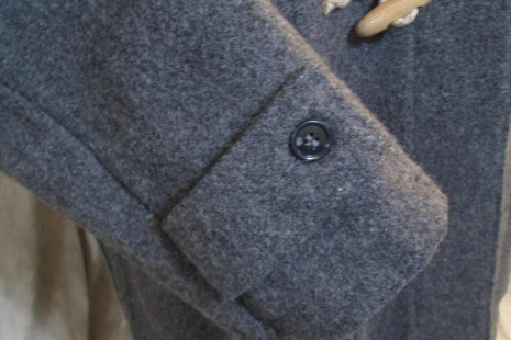Schott Duffle Coat Melton wool  Gray coat Hemp and Wood toggles and buttons USA