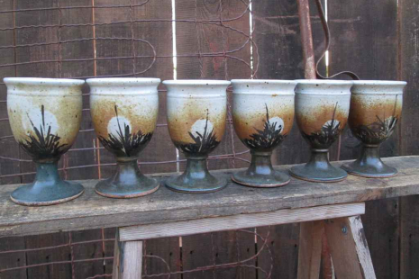Vintage 70s Wine goblets handthrown pottery boho Kitchen decor