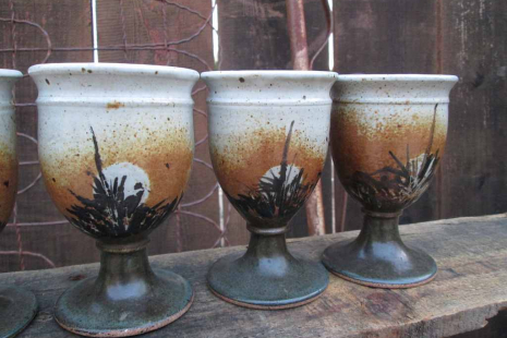 handthrown pottery boho Kitchen decor Earthy footed ceramic cups