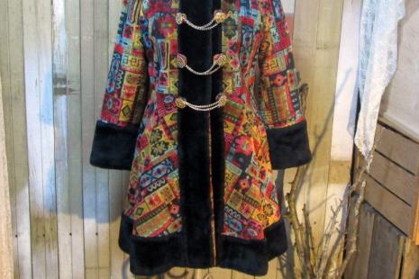 Vintage 60s Tapestry Coat Russian style Mini Boho by funkomavintage