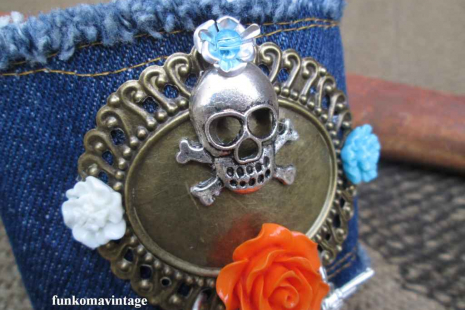 Guns and Horses Denim Bohemian Skull Cuff Bracelet