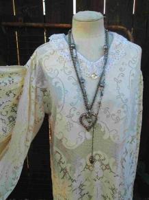 Tea length Bridal gown handmade Vintage Wedding Boho Bride
