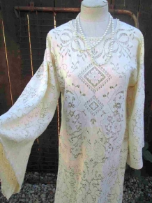 Boho Bride vintage Ivory Lace Dress Vintage Wedding