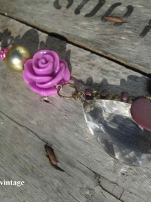 Crystal Skull Mexican assemblage purple vintage roses necklace