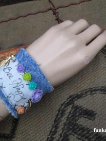 Bee Happy Boho Denim Charm Bracelet