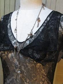 neckline view Lovely Black Lace vintage 1930s Dress