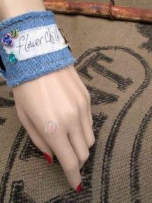 Flower Child Boho Denim Charm Bracelet turquoise roses Bohemian rustic Bee Cuff