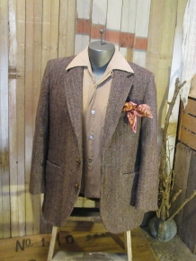 Vintage Harris Tweed Jacket Brown Herringbone rainbow fleck 70s