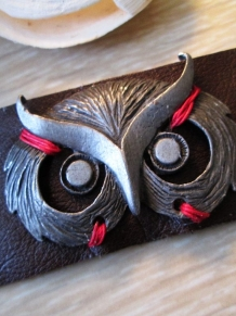 Forest Vintage Owl bracelet Brown Leather Cuff