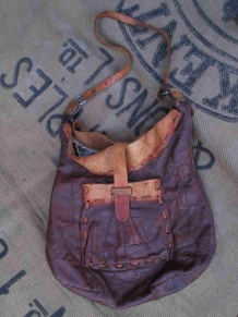 Vintage 60s hippie purse boho Leather Velvet Purse