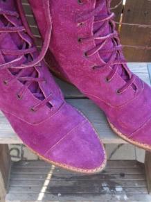 Vintage Purple suede Ankle Boots 80s