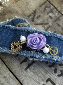 Peace Boho Denim Charm Bracelet Purple rose Cuff