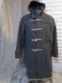 Schott Duffle Coat Melton wool  Gray coat  toggles and buttons USA