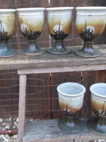 Vintage 70s Wine goblets handthrown pottery boho Kitchen decor