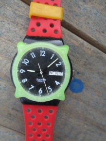 vintage  80s Red Swatch watch