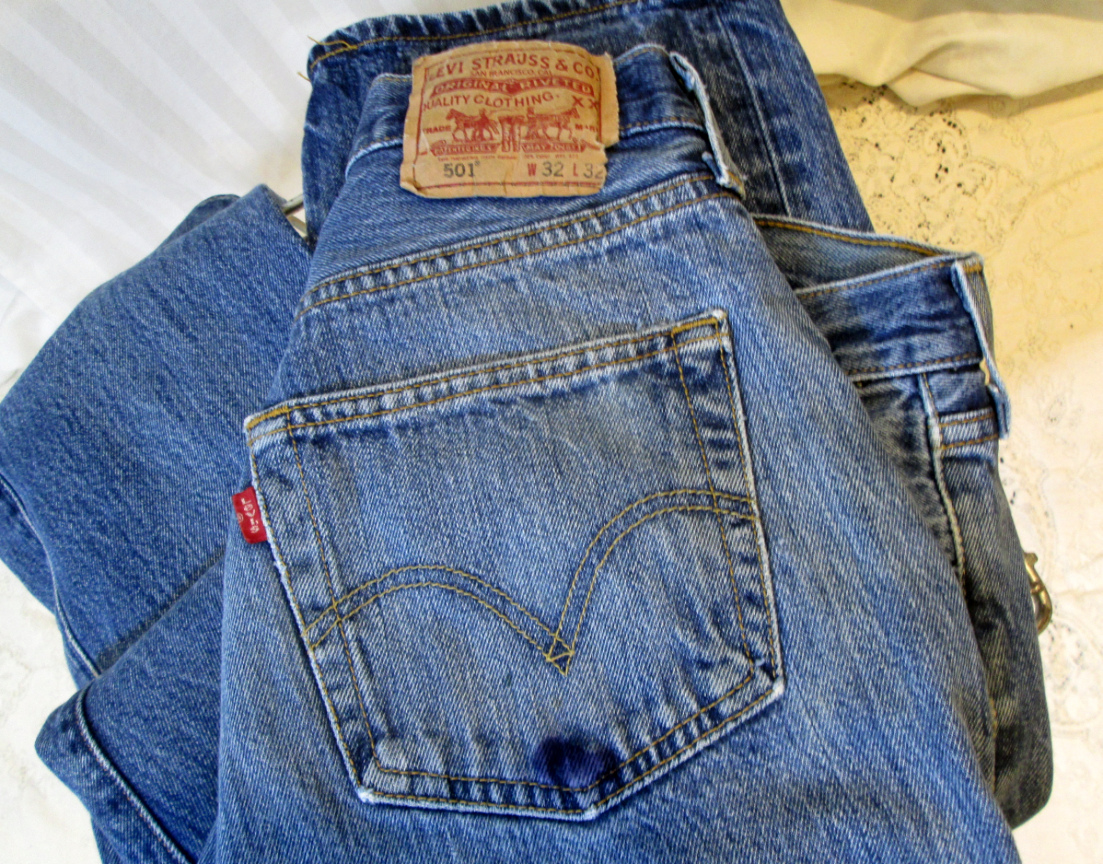 0b93076a Vintage 501 Levis Grainy blue denim pre shrunk button front Levis ...