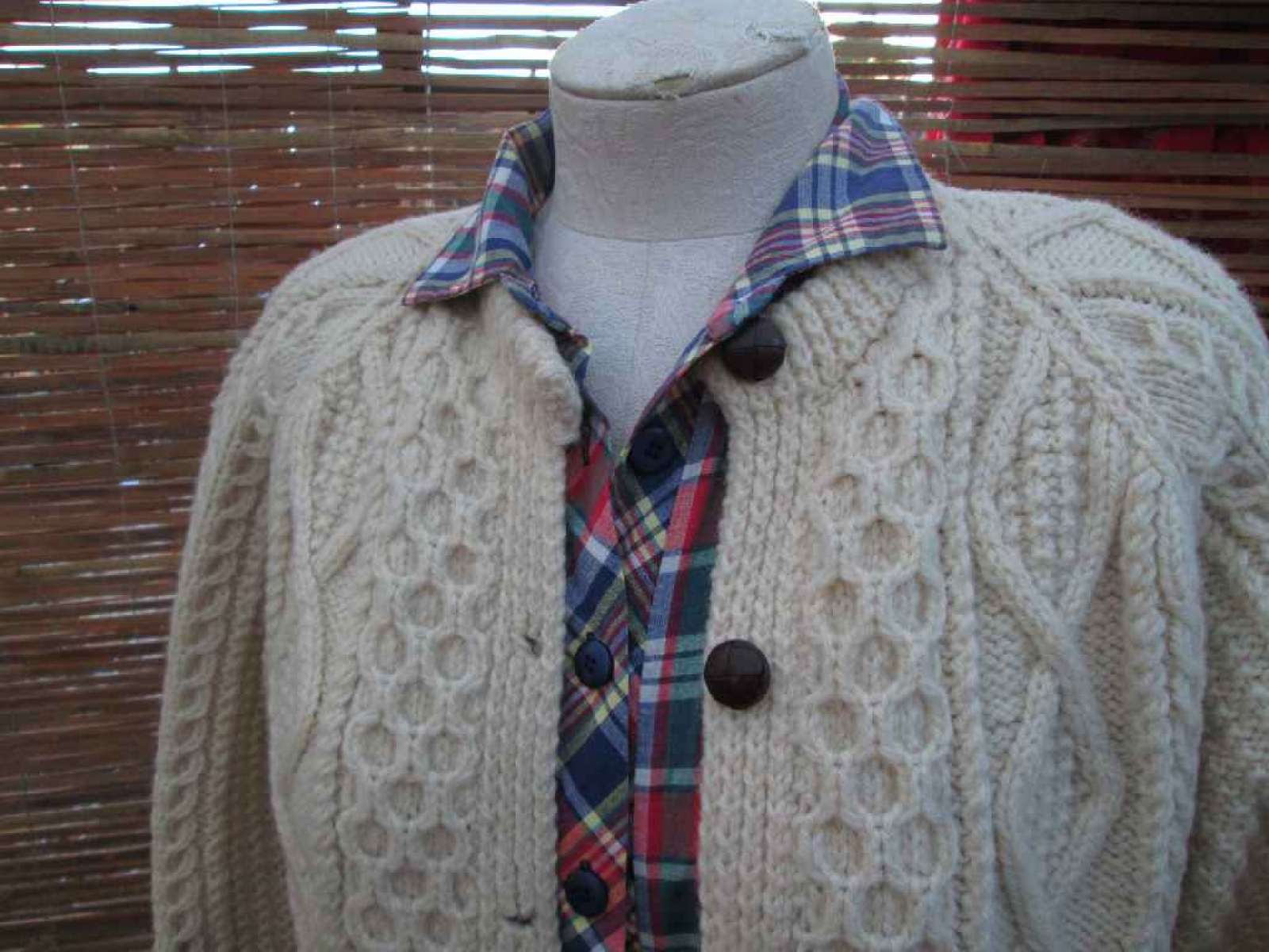 Irish aran cardigan sweater vintage cable cardigan for Aran crafts fisherman sweater