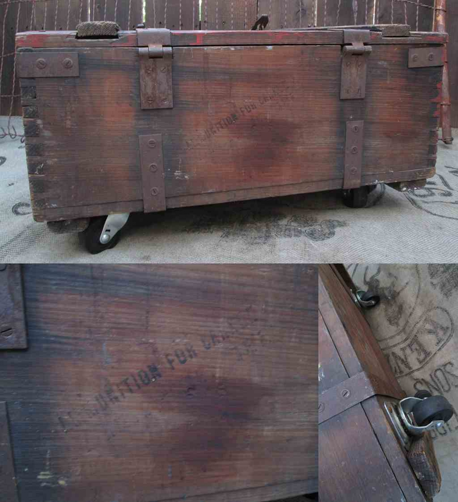 Rustic Chest Distressed Coffee Table Rolling Casters Ix Stencil Funkomavintage