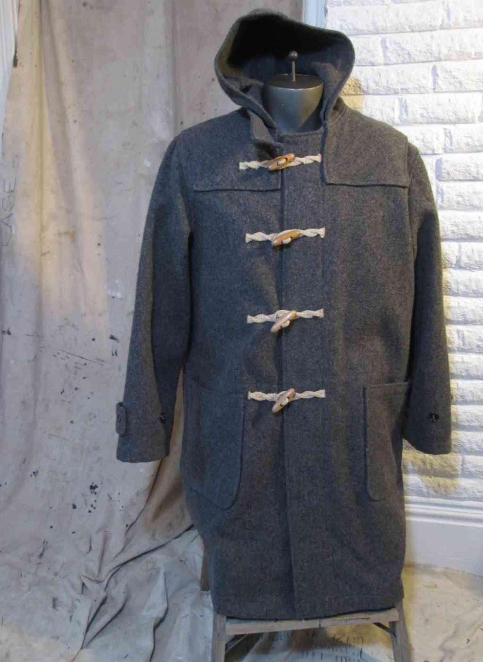 Schott Duffle Coat Melton wool Gray coat Hemp and Wood toggles and ...