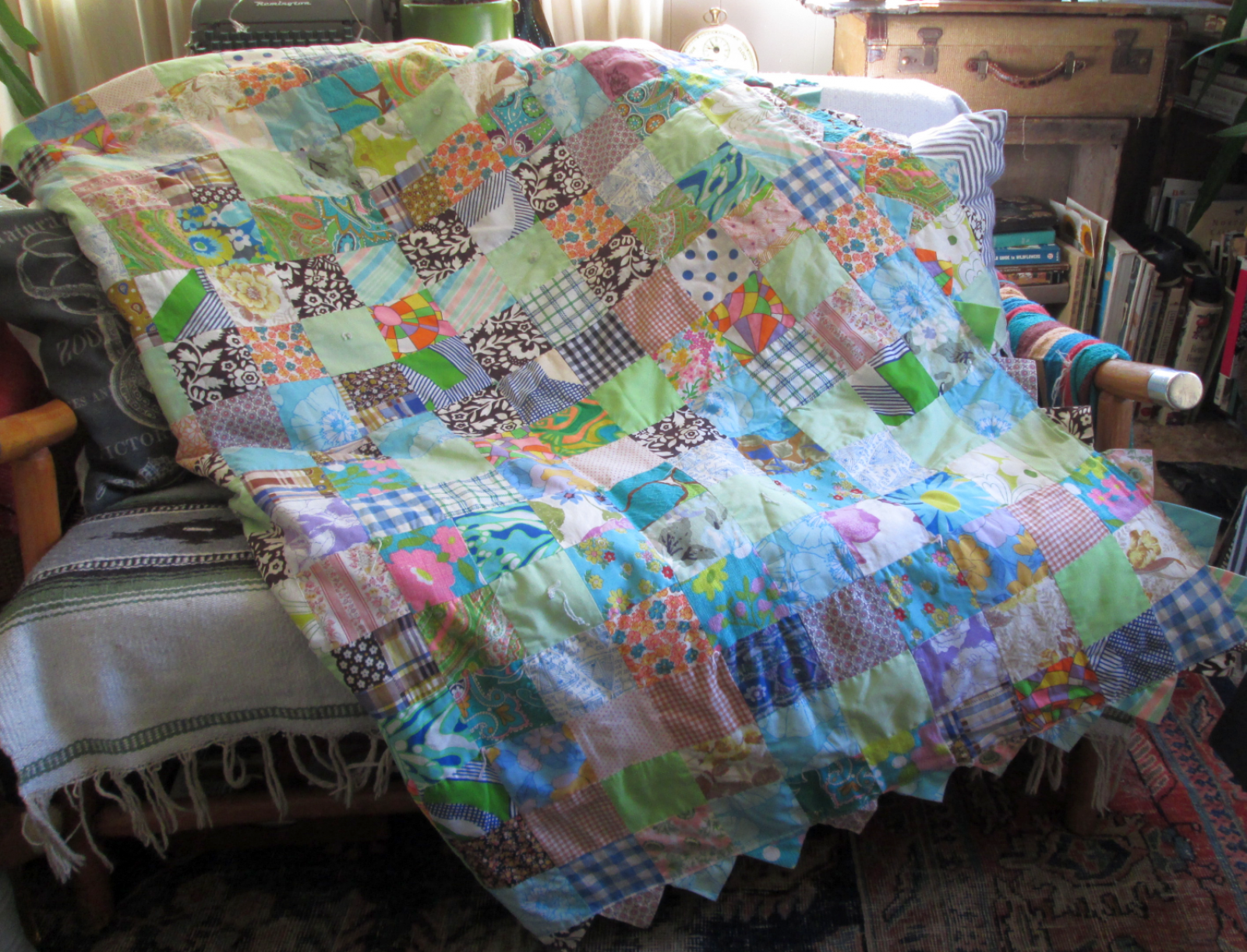 Pink Calico Vintage Quilt Pastels Blue and Pink Patchwork print quilt 60s  and 70s floral Cottage bedspread Twin or Double Calico quilt