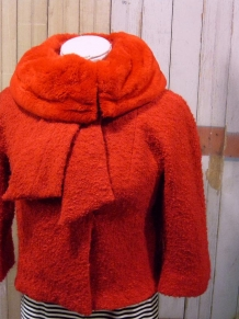 60s red fur Lilli Ann jacket
