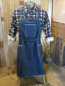 denim apron handmade in vintage redline selvage blue denim